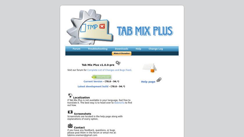 Tab Mix Plus Landing Page