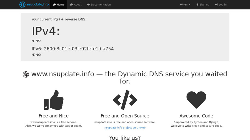 nsupdate.info Landing Page