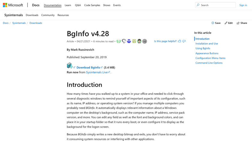 Bginfo Landing Page