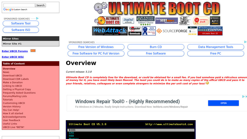 Ultimate Boot CD Landing Page