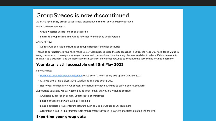 GroupSpaces Landing Page