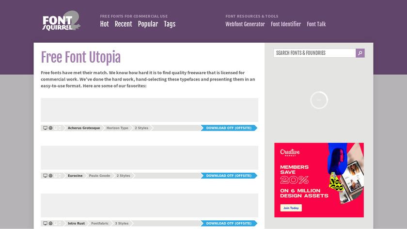 Font Squirrel Landing Page