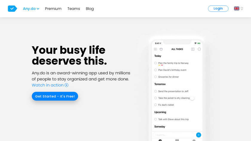 Any.DO Landing Page