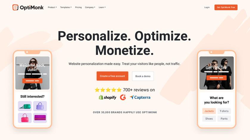 OptiMonk Landing Page