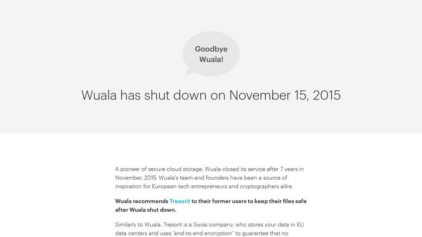 Wuala Landing Page
