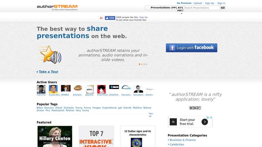 authorSTREAM Landing Page