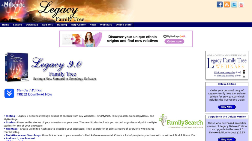 Legacy Family Tree Landing Page