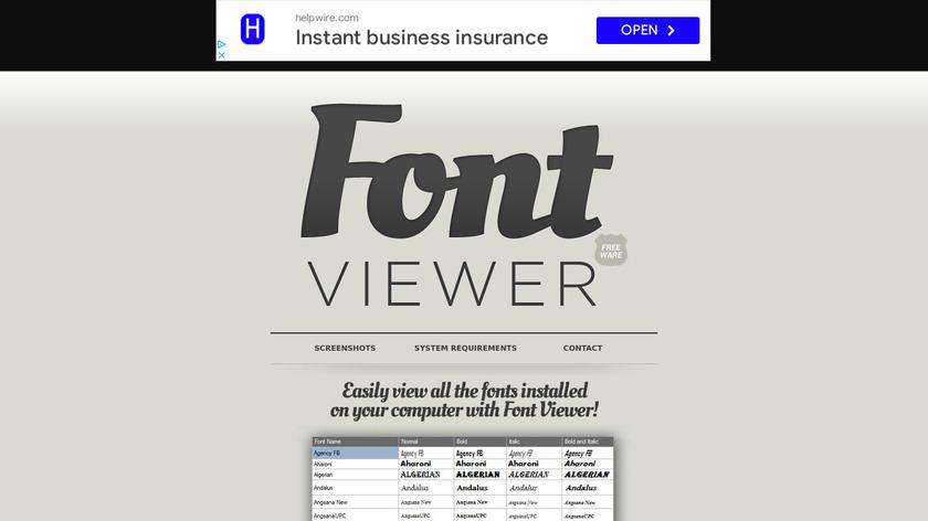 Font Viewer Landing Page