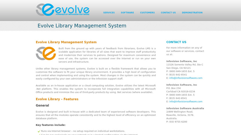 Evolve Library Landing Page
