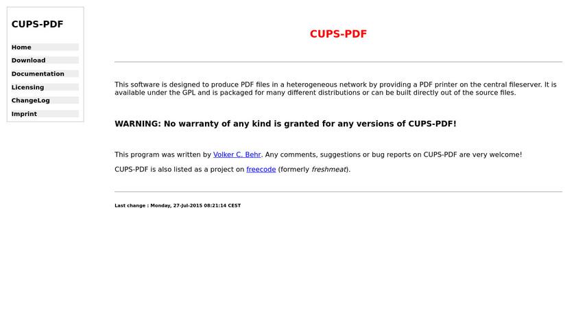 CUPS-PDF Landing Page