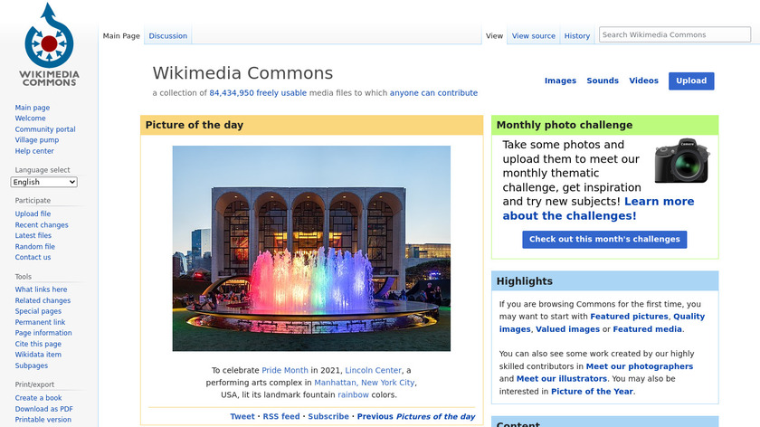 Wikimedia Commons Landing Page