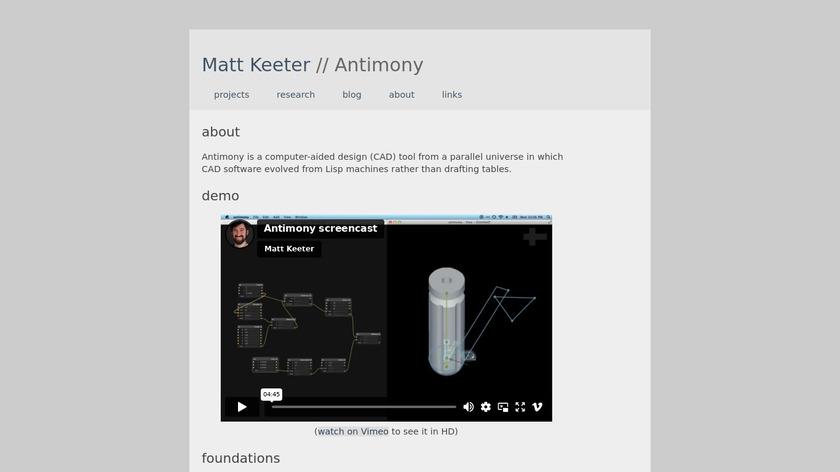 Antimony Landing Page