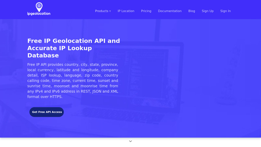 ipgeolocation.io Landing Page