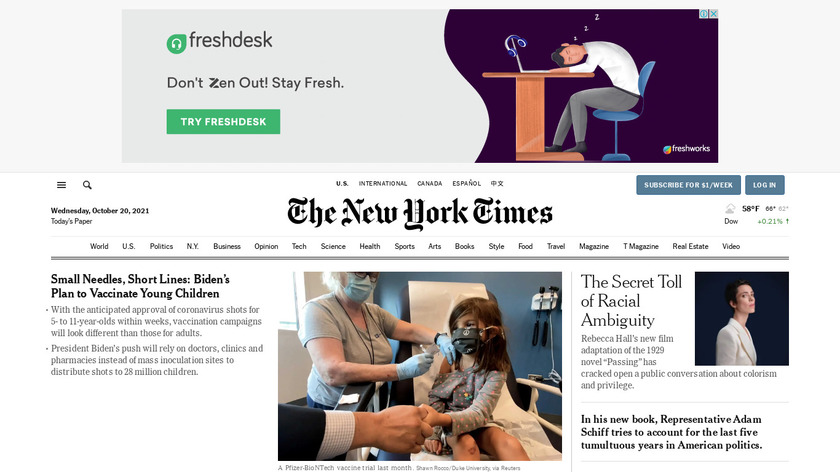The New York Times Landing Page