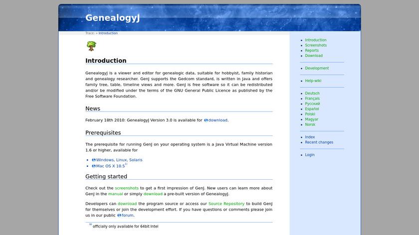 GenealogyJ Landing Page