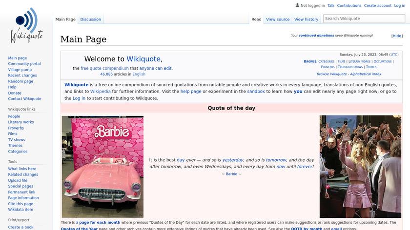 Wikiquote Landing Page