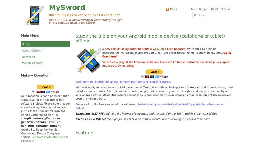 MySword Landing Page