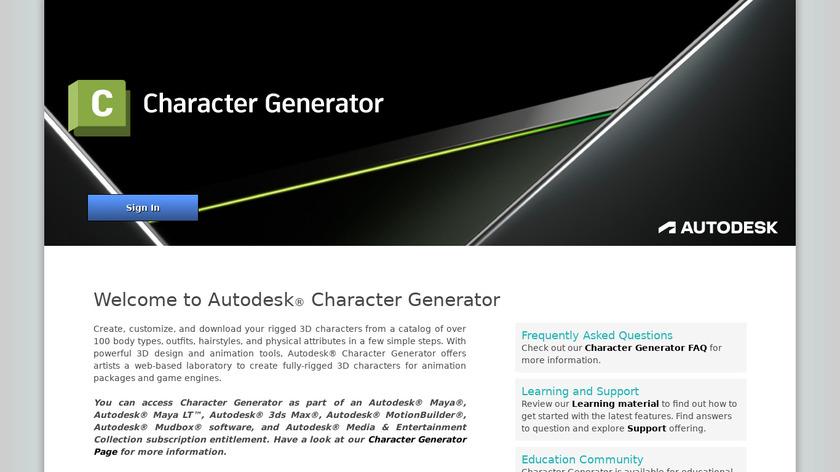 Autodesk Character Generator Landing Page