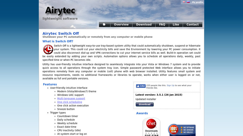 Airytec Switch Off Landing Page