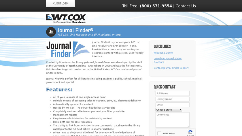 Journal Finder Landing Page
