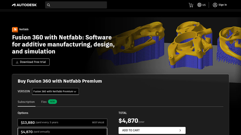 Netfabb Landing Page
