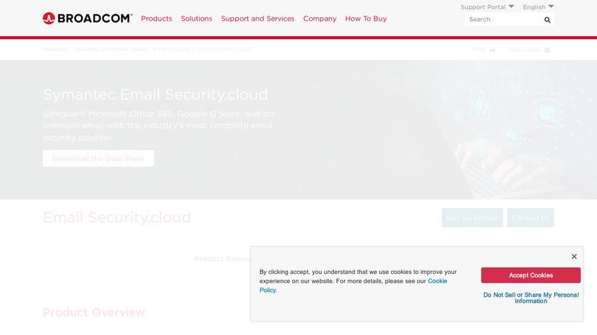 Symantec Email Security.cloud Landing Page