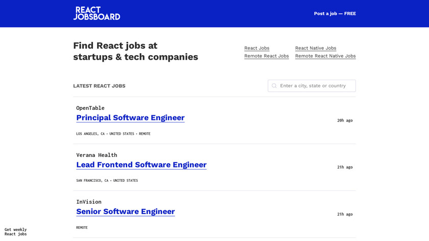 React Jobs Board Landing Page