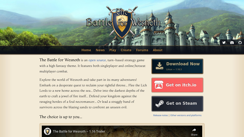 The Battle for Wesnoth Landing Page