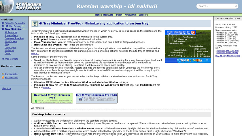 4t Tray Minimizer Landing Page
