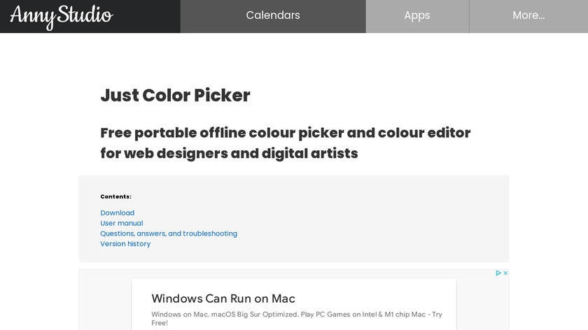 Just Color Picker Landing Page