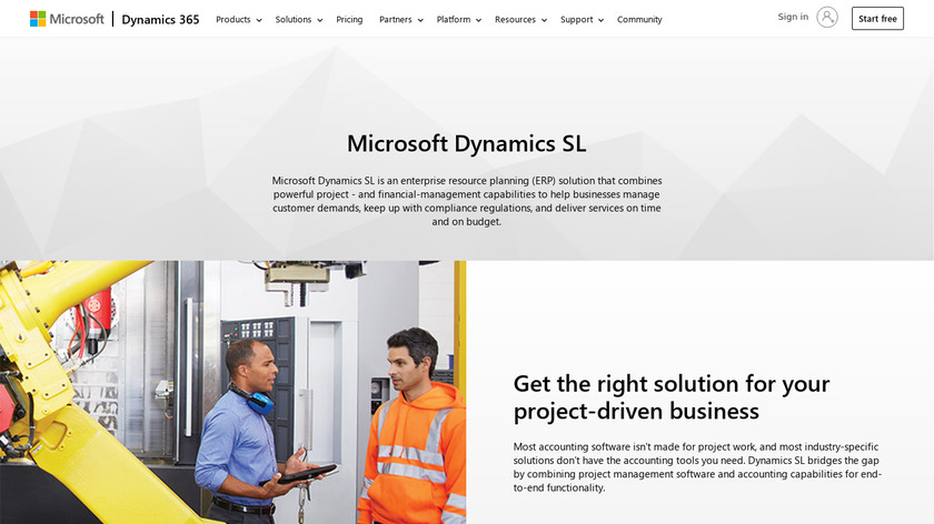 Microsoft Dynamics SL Landing Page