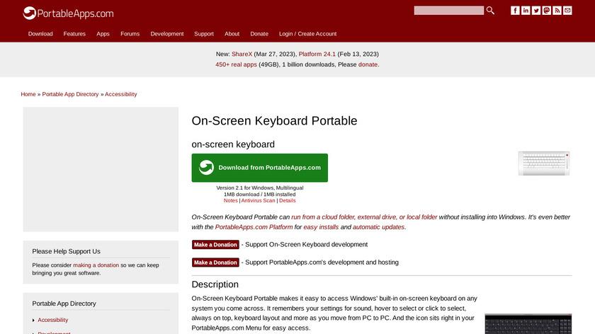 On-Screen Keyboard Portable Landing Page