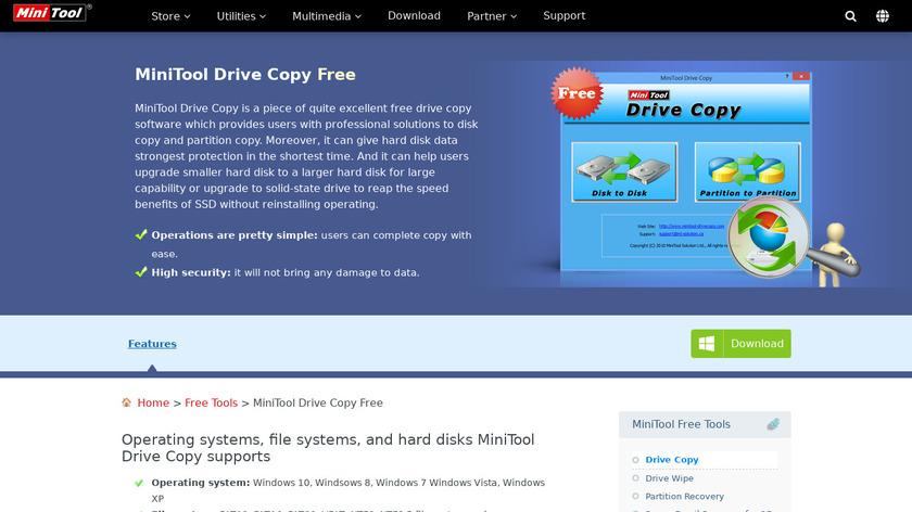 MiniTool Drive Copy Landing Page