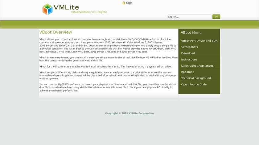 VMLite VBoot Landing Page