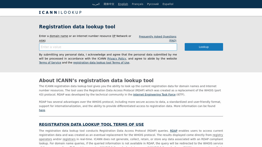 ICANN WHOIS Landing Page