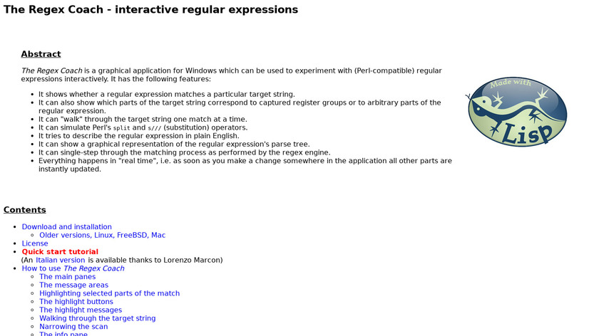 The Regex Coach Landing Page