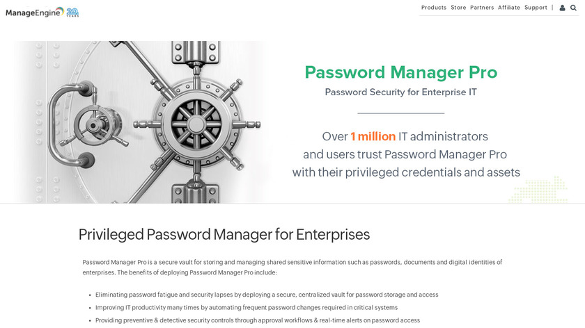 ManageEngine Password Manager Pro Landing Page