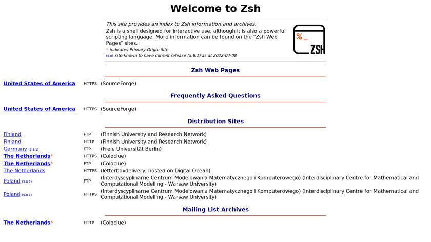 zsh Landing Page