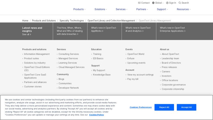 OpenText Library Management Landing Page