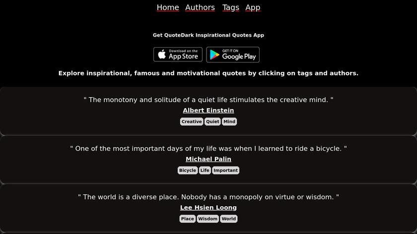QuoteDark Landing Page