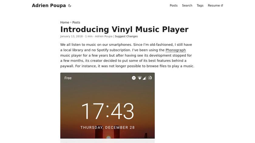 Vinyl Music Player Landing Page