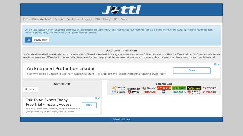 Jotti Landing Page