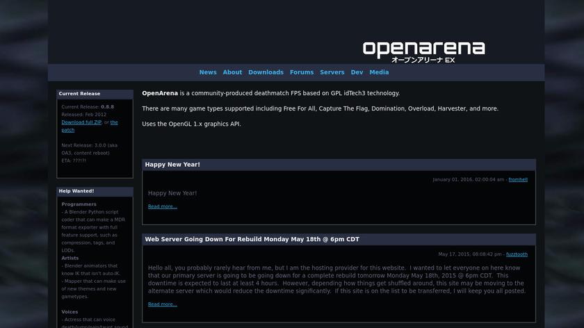 OpenArena Landing Page