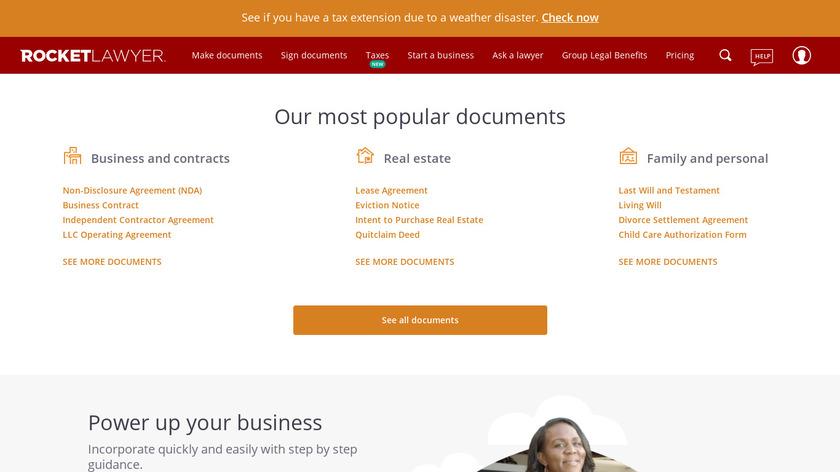 Rocket Lawyer Landing Page
