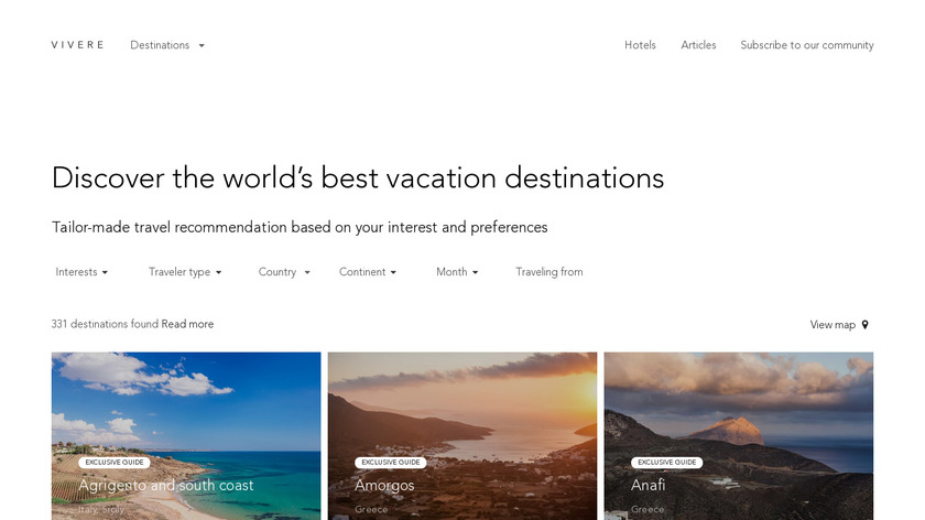 Vivere.travel Landing Page