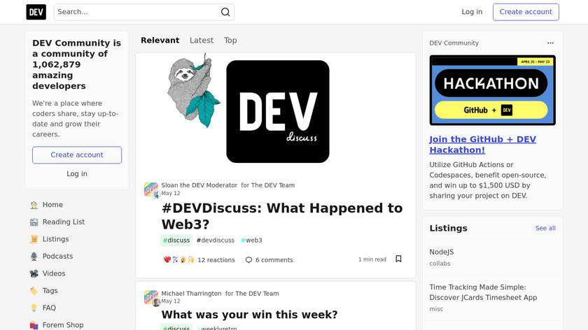 DEV.to Landing Page