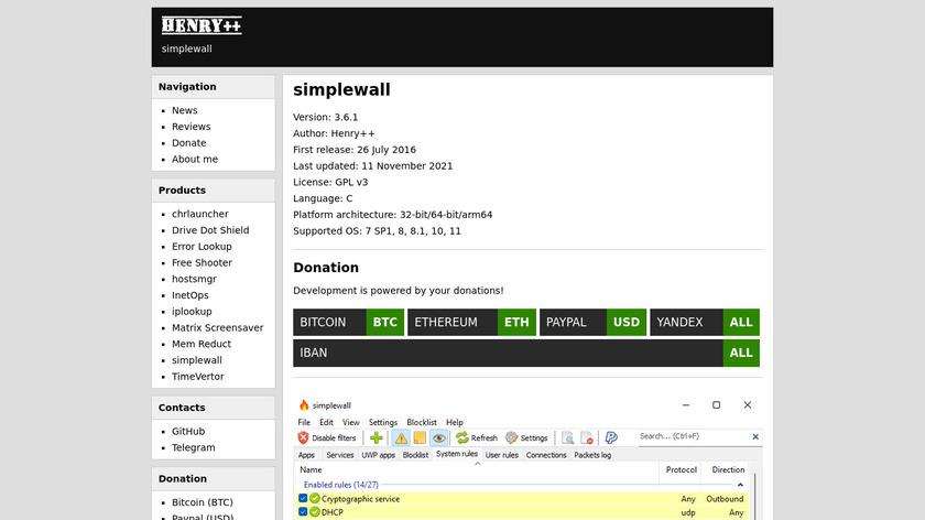 simplewall Landing Page