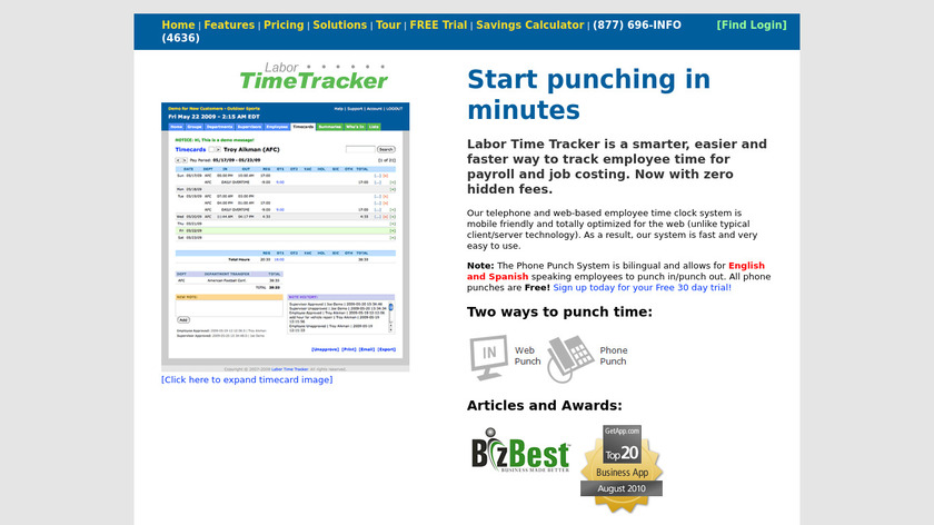 Labor Time Tracker Landing Page