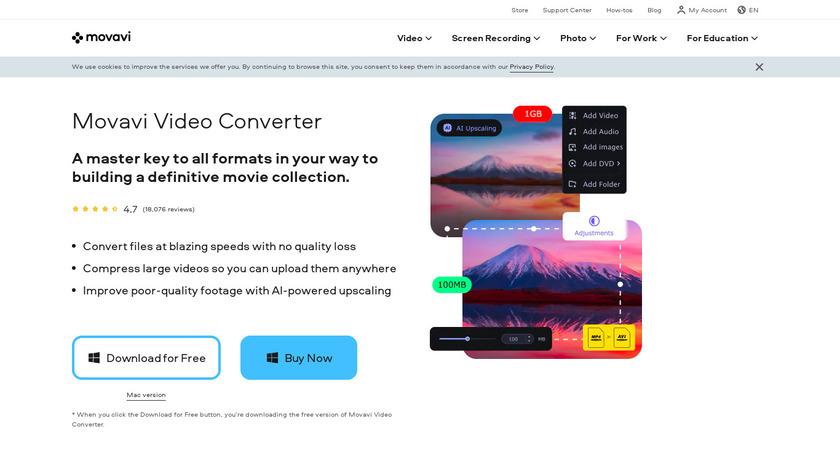 Movavi Video Converter Landing Page