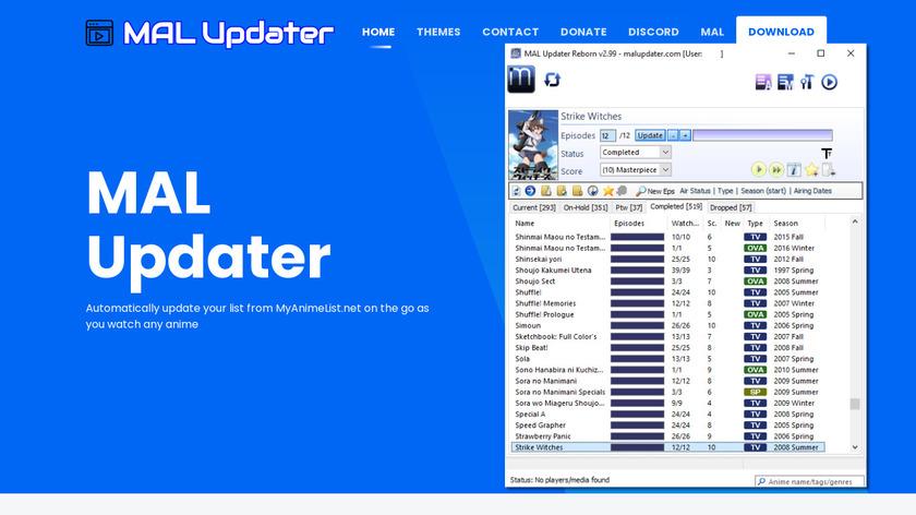 MAL Updater Landing Page